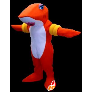 Mascotte de poisson, de requin orange et blanc avec des brassards