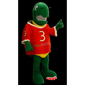 Mascot grønn skilpadde og gul, veldig smilende