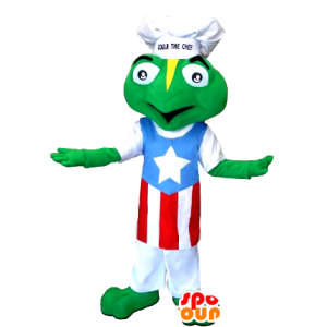 Frog mascot dressed in a chef's hat and apron - MASFR21284 - Mascots frog