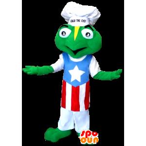 Frosch-Maskottchen in eine Kochmütze und Schürze gekleidet - MASFR21284 - Maskottchen-Frosch