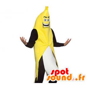 Mascot riesige Banane, gelb, schwarz und weiß - MASFR21285 - Obst-Maskottchen