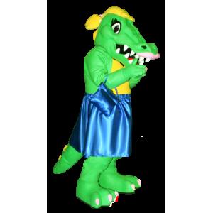 Grüne und gelbe Krokodil-Maskottchen mit einem blauen Kleid - MASFR21286 - Maskottchen der Krokodile