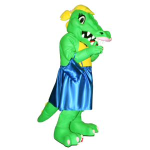 Green and yellow crocodile mascot with a blue dress - MASFR21286 - Mascot of crocodiles