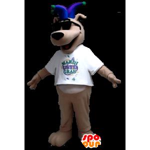 Beige hond mascotte met een gekke hoed Koning - MASFR21295 - Dog Mascottes