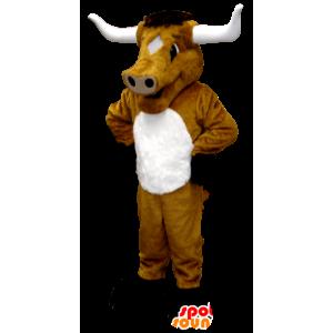 Vaca marrom mascote, touro, búfalo, gigante