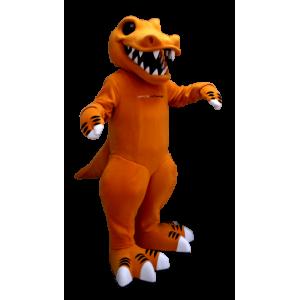 Orange und weiß Dinosaurier Maskottchen, mit großen Zähnen - MASFR21298 - Maskottchen-Dinosaurier