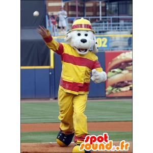 Gray dog mascot, dressed in firefighting gear - MASFR21299 - Dog mascots