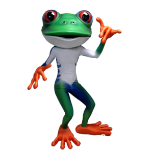 Grüner Frosch-Maskottchen, weiß, blau und orange - MASFR21300 - Maskottchen-Frosch