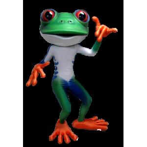Green frog mascot, white, blue and orange - MASFR21300 - Mascots frog