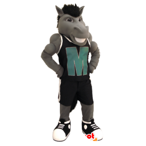 Gray horse mascot with an outfit of black sports