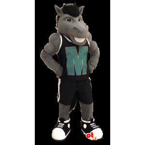 Grijs paard mascotte met een outfit van zwarte sport