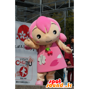 Mascotte girl with the hair and a pink dress