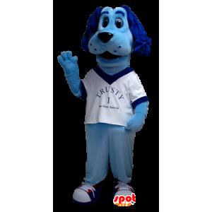 Sininen koira maskotti, valkoinen paita - MASFR21306 - koira Maskotteja
