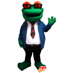 Frog mascot with glasses and a suit and tie - MASFR21309 - Mascots frog