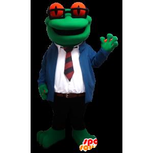 Frosch-Maskottchen mit Brille und einen Anzug und Krawatte - MASFR21309 - Maskottchen-Frosch
