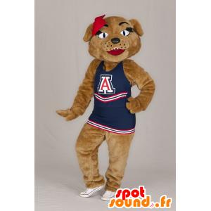 Brown tiger mascot with a blue dress - MASFR21316 - Tiger mascots
