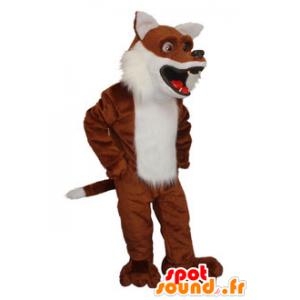 Mascotte de renard marron et blanc très réaliste