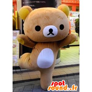 Stor teddy maskot brunt og gult - MASFR21325 - bjørn Mascot