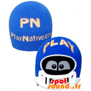 Hoofd mascotte, blauw en witte helm, met de ogen