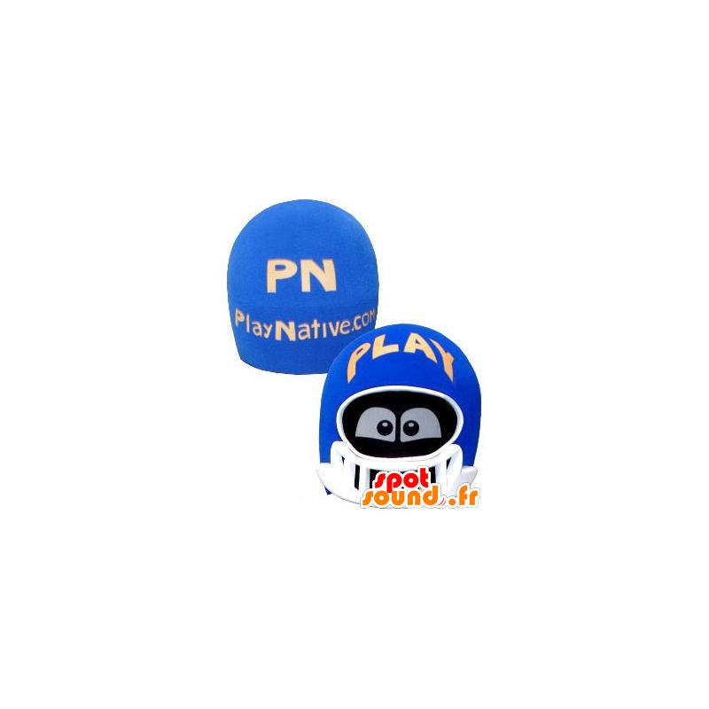 Hode maskot, blå og hvit hjelm, med øynene - MASFR21333 - Heads maskoter