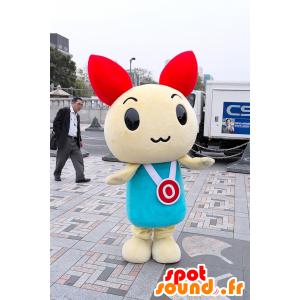 White rabbit mascot and red, blue dress - MASFR21341 - Rabbit mascot
