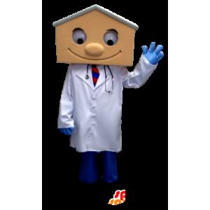Mascotte de médecin en blouse, avec une tête en forme de maison