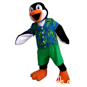 Mascot pingvin svart, hvit og oransje med en fargerik drakt