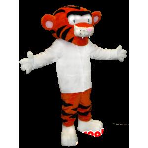 Mascot oranje en zwarte tijger met een wit overhemd - MASFR21354 - Tiger Mascottes