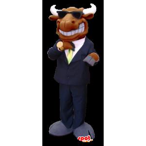 Mascot hirvi, caribou ruskea, pukeutunut puku ja solmio