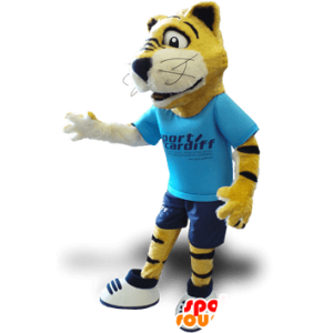 Yellow tiger mascot, black and white, with a blue outfit - MASFR21356 - Tiger mascots