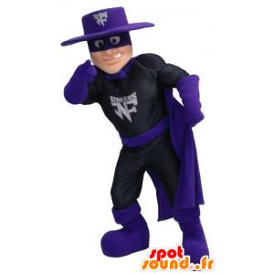 Mascot Zorro, roupa de super-heróis em preto e violeta