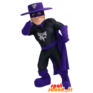 Mascot Zorro, superhero in a black dress and purple