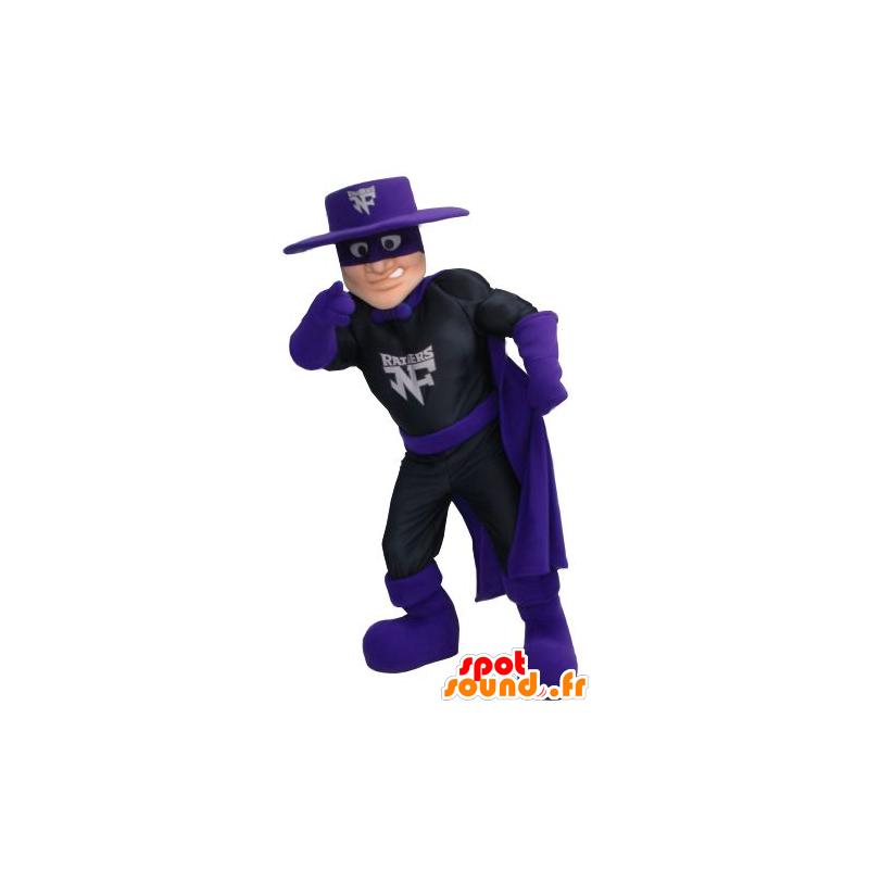 Mascot Zorro, superheld outfit in zwart en violet - MASFR21357 - superheld mascotte