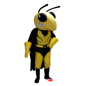 Mascot yellow and black wasp in superhero attire