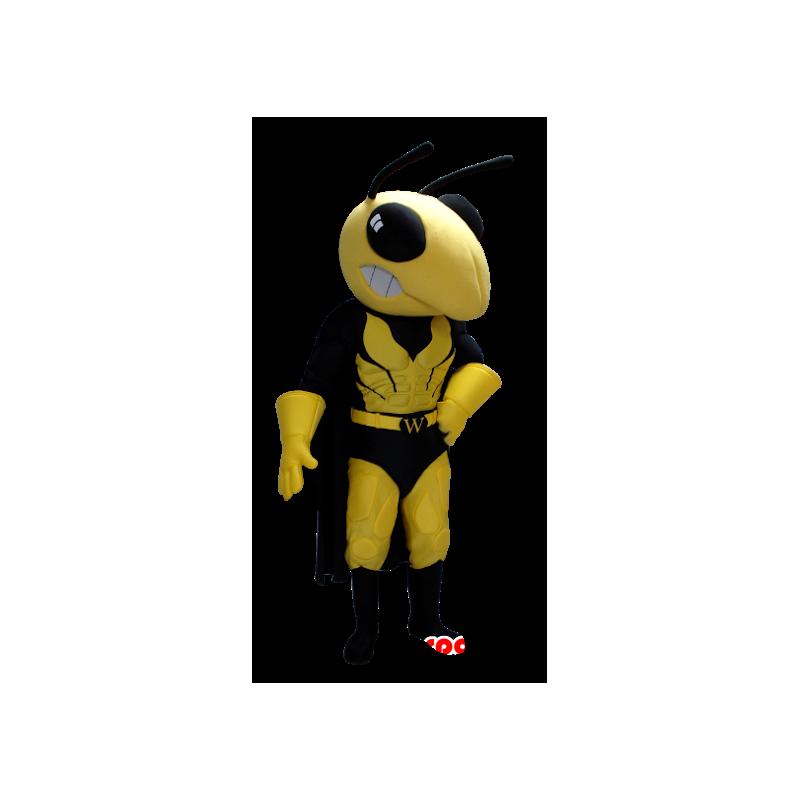 Mascotte gele en zwarte wesp in superheld kledij - MASFR21360 - superheld mascotte