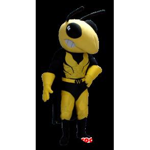 Mascot avispa amarillo y negro en traje de superhéroe - MASFR21360 - Mascota de superhéroe