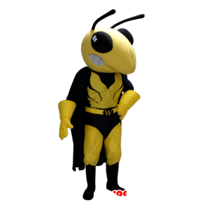 Mascot yellow and black wasp in superhero attire - MASFR21360 - Superhero mascot