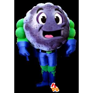 Mascot blåbær, solbær superhelt antrekk