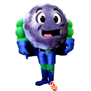 Mascotte blueberry, blackcurrant superhero outfit