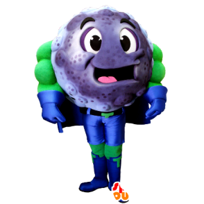 Mascotte de myrtille, de cassis en tenue de super-héros - MASFR21367 - Mascotte de super-héros