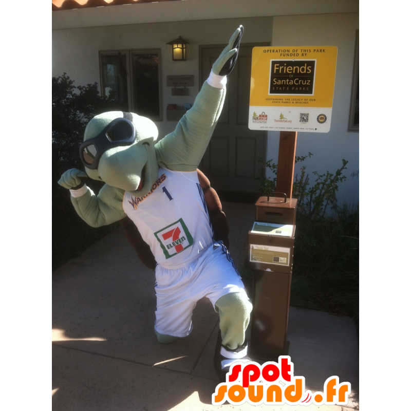 Mascot groene schildpad en bruin met vliegeniersglazen - MASFR21368 - Turtle Mascottes