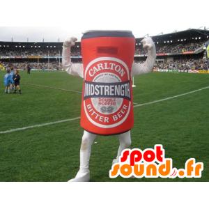 Mascotte de canette de bière rouge, géante