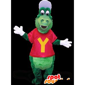Coccodrillo verde mascotte, con un cappello e una t-shirt - MASFR21382 - Mascotte di coccodrilli