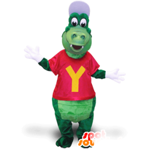 Green crocodile mascot, with a cap and a T-shirt - MASFR21382 - Mascot of crocodiles