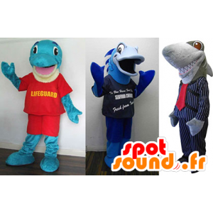 3 mascottes: un dauphin bleu, un poisson bleu et un requin gris