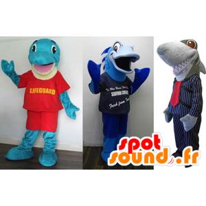 3 maskotki: niebieski delfin, niebieski ryb i szary rekin