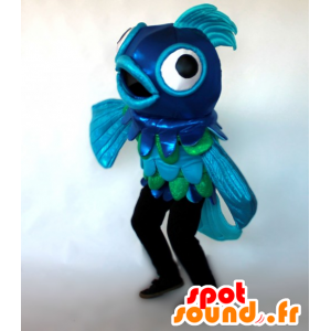 Blu e verde mascotte pesce, gigante