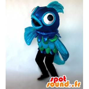 Mascotte de poisson bleu et vert, géant