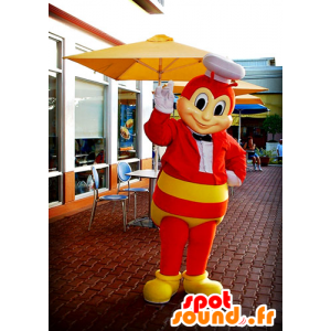 Mascot rød og gul bie, veps, insekt flyr