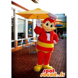 Mascot rood en geel bij, wesp, het insect vliegen